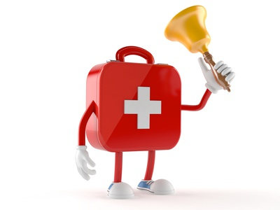 First aid kit character with handbell